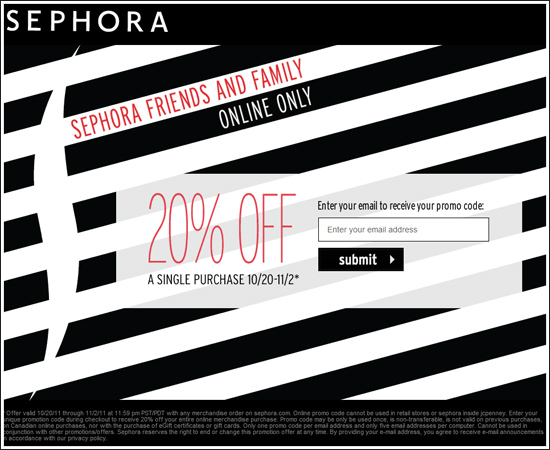 Sale Alert : Sephora's 2011 Friends and Family Sale Get 20% Off