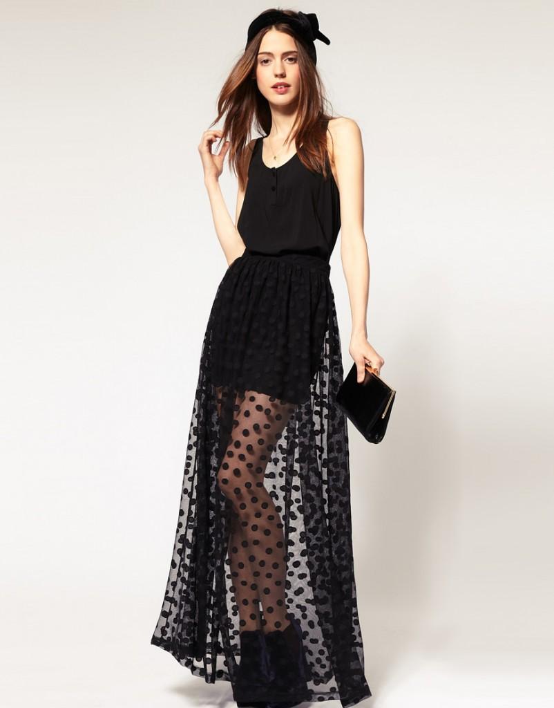 The Seductive Look of Sheer Maxi Skirts