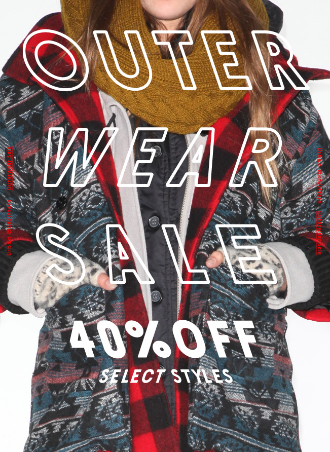 Sale Alert – 40% Off Outerwear From Urban Outfitters